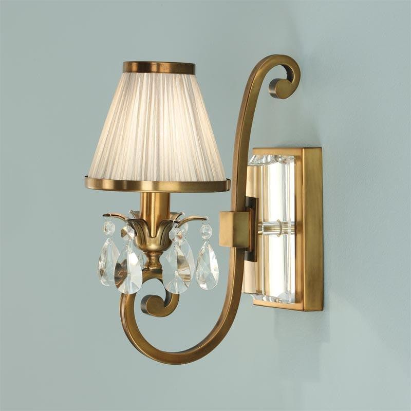 Traditional Wall Lights - Oksana Antique Brass Finish Single Wall Light With Beige Shade 63538