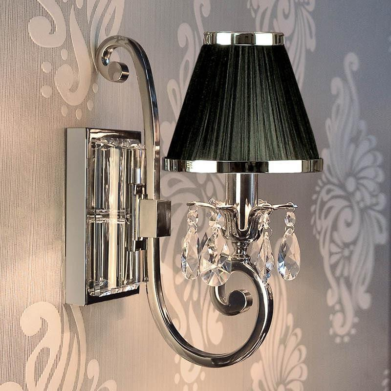 Traditional Wall Lights - Oksana chrome Finish Single Wall Light With Black Shade 63532