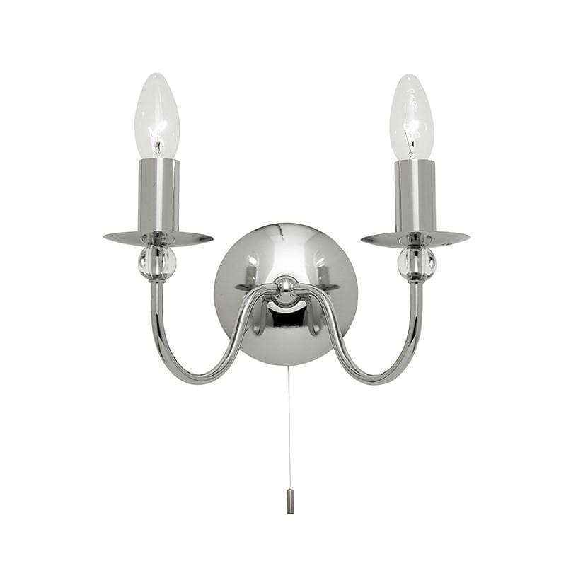 Traditional Wall Lights - Parkstone chrome Finish Twin Arm Wall Light 2013-2CH