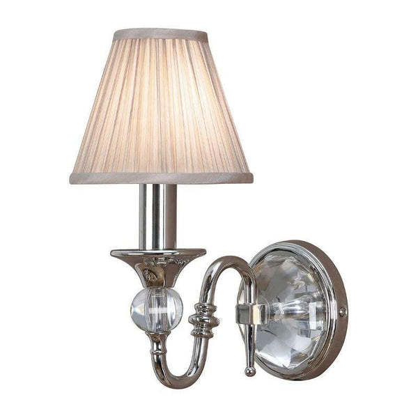 Traditional Wall Lights - Polina chrome Finish Single Wall Light With Beige Shade 63596