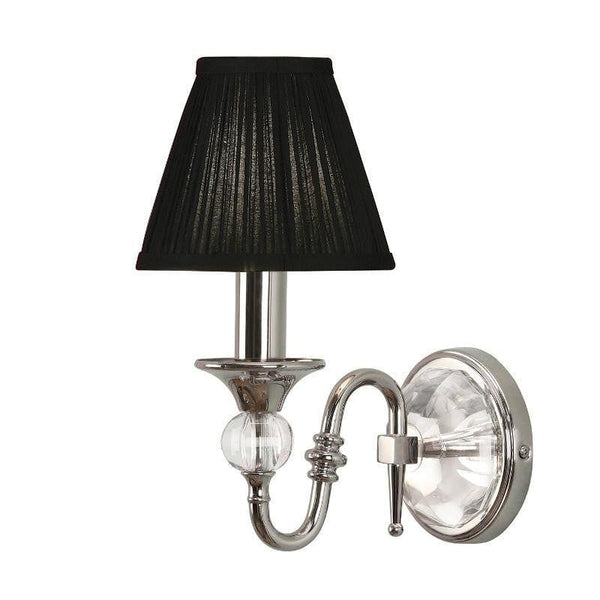 Traditional Wall Lights - Polina chrome Finish Wall Light With Black Shade 63597