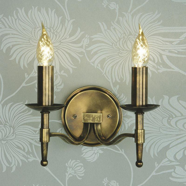 Traditional Wall Lights - Stanford Antique Brass Finish Double Wall Light CA1W2B