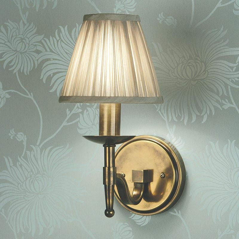 Traditional Wall Lights - Stanford Antique Brass Finish Single Wall Light With Beige Shade 63653