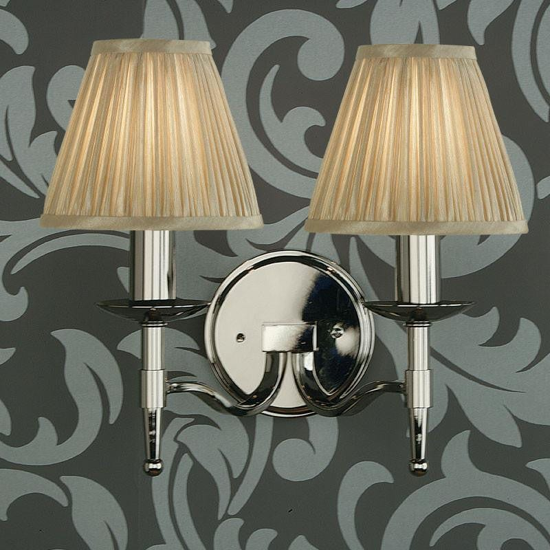 Traditional Wall Lights - Stanford chrome Finish Double Wall Light With Beige Shades 63656