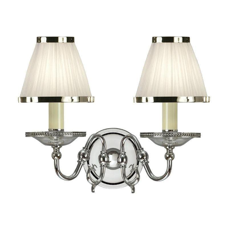 Traditional Wall Lights - Tilburg chrome Finish Double Wall Light With White Shades 63724