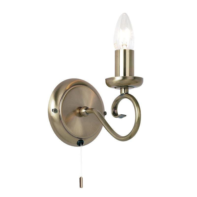 Traditional Wall Lights - Trafford Antique Brass Finish Single Arm Wall Light 180-1AN