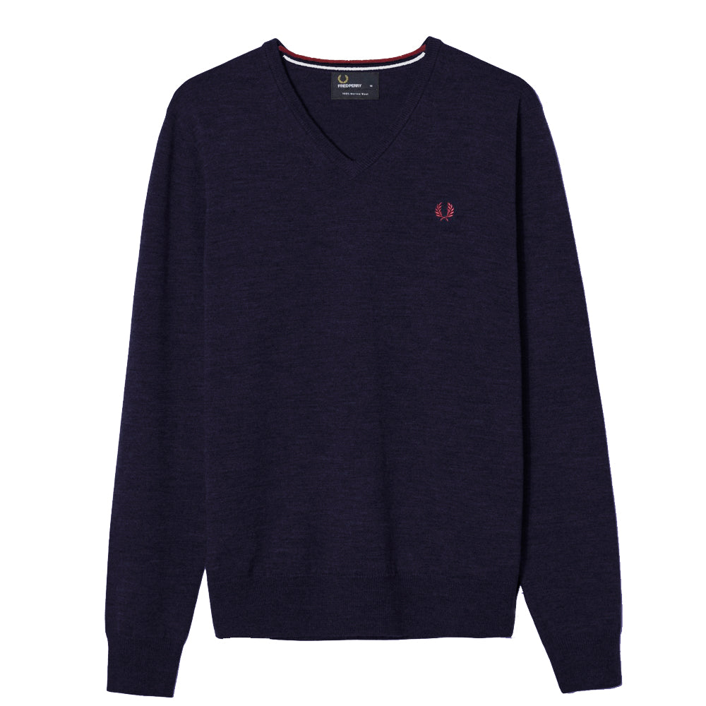 FRED PERRY // CLASSIC TIPPED V-NECK JUMPER NAVY