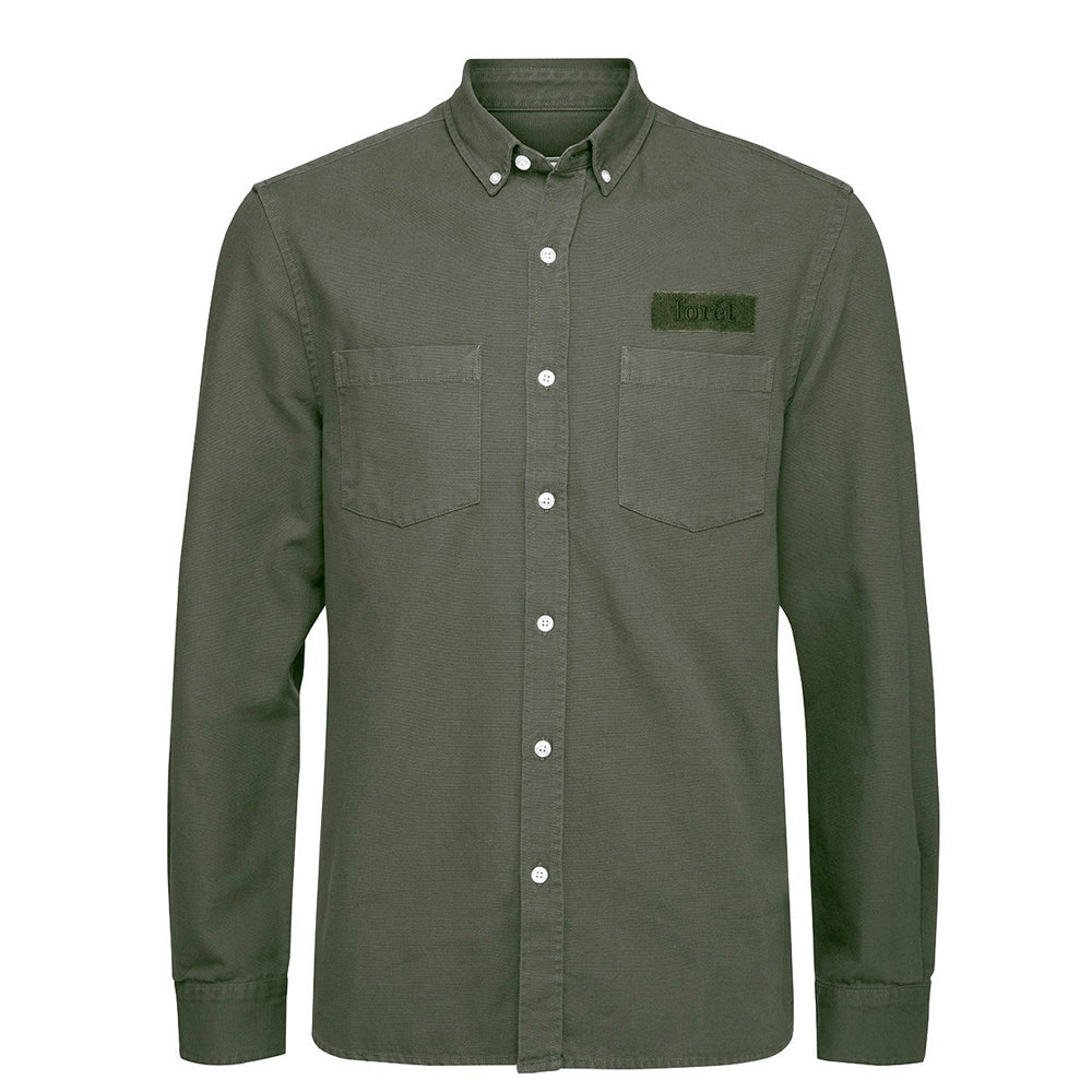 FORET // BEAR CANVAS SHIRT OLIVE