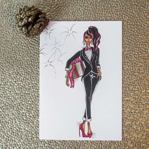 "Mae B ""Tuxedo Gal"" Holiday Card Set"