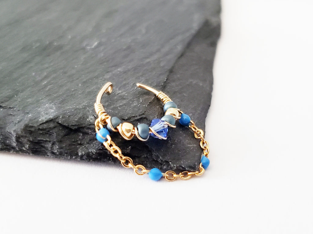 Gold Filled Ear Cuff With Chain and Blue Beads