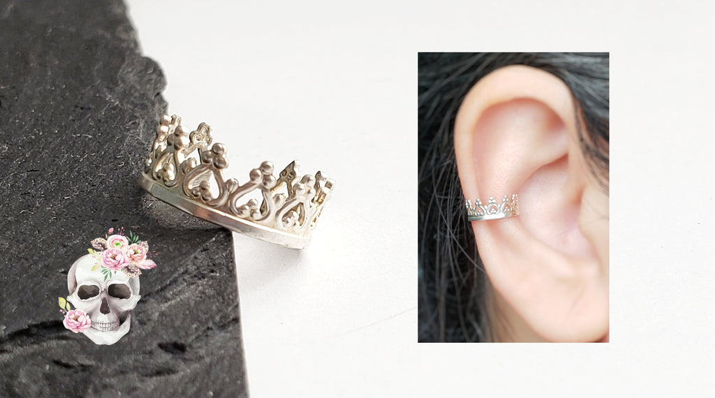 Sterling silver heart crown ear cuff