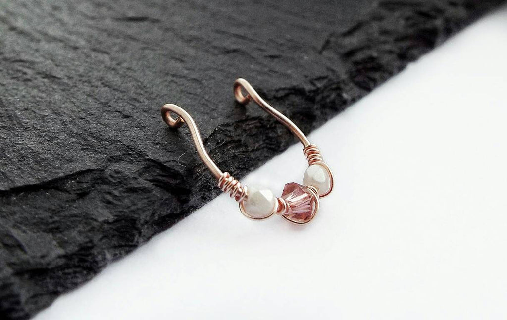 Rose Gold Septum Ring - Clip On Septum - 10mm Fake Septum Ring