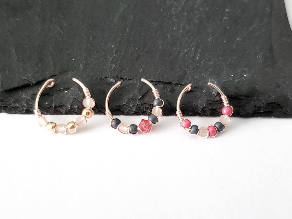 Stackable Ear Cuffs - Gift For Her - Conch Ear Cuff - Hoop Ear Cuff Set