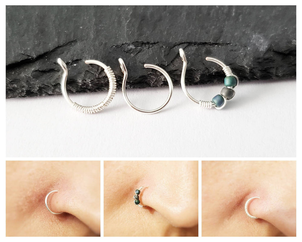 Fake Nose Ring Set - Clip On Nose Ring - Faux Piercing - 8mm Nose Ring