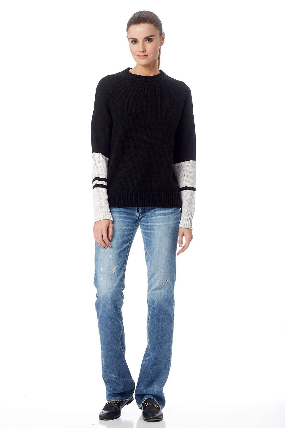360 SWEATER 36158 shirley colorblock arm crew