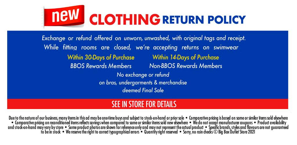 NEW CLOTHING RETURN POLICY