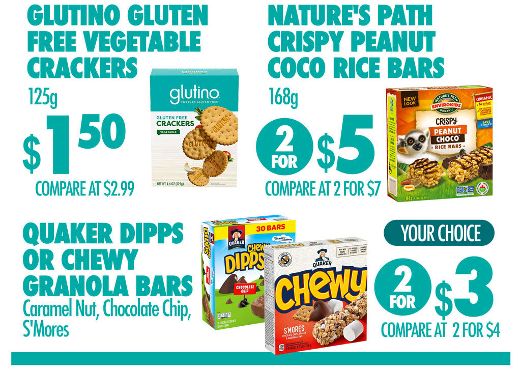 GLUTINO GLUTEN FREE VEGETABLE CRACKERS $1.50 NATUREÈS PATH RICE BARS 2 FOR $5