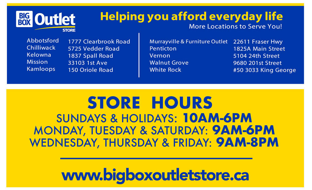 BIG BOX OUTLET STORE HOURS & LOCATIONS
