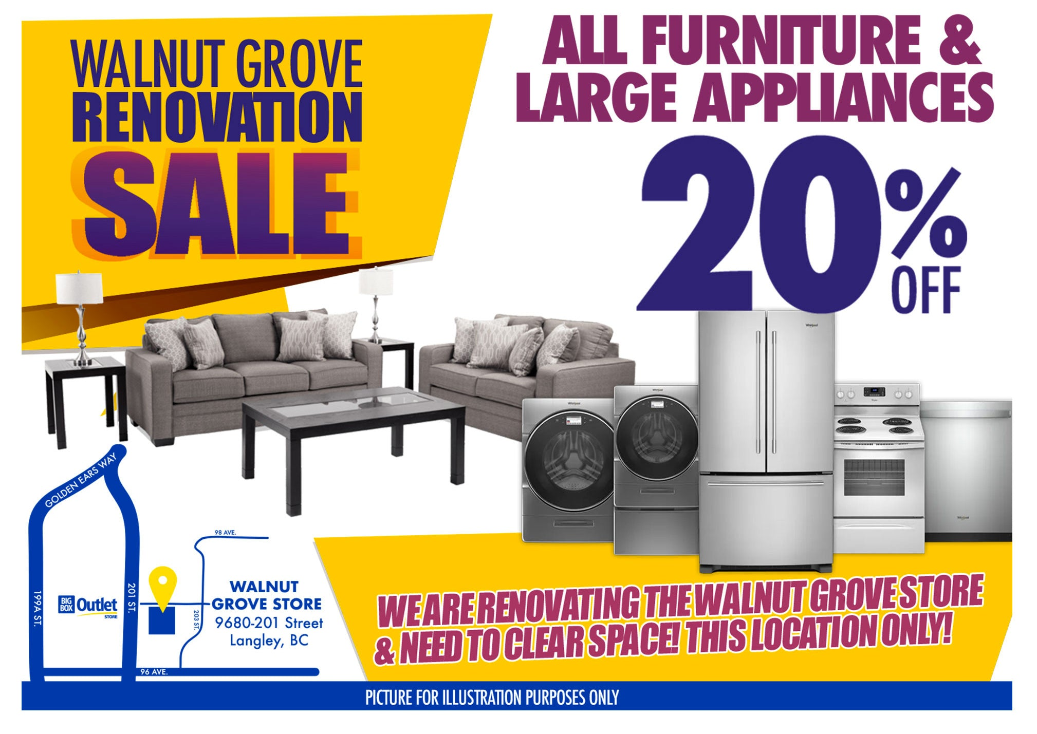 WALNUT GROVE RENOVATION SALE  ALL FURNITURE & LARGE APPLIANCES 20%OFF