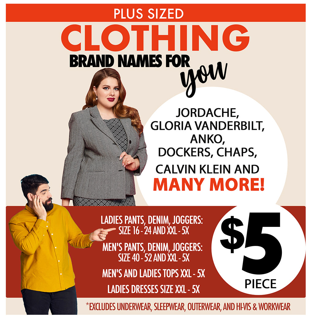 PLUS SIZED CLOTHING BRAND NAMES FOR YOU $5 PIECE