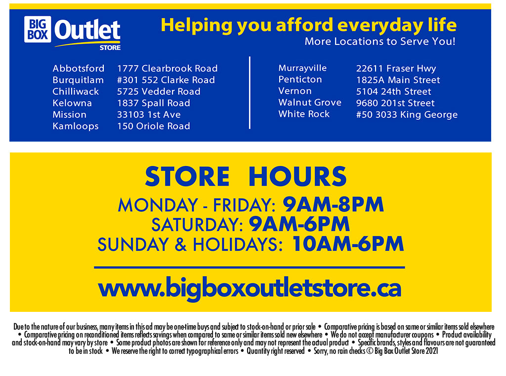 BIG BOX OUTLET STORE HOURS 11 LOCATIONS