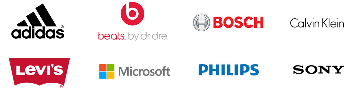 some brands we carry including beats by adidas, dre, bosch, burberry, calvin klein, levi's, microsoft, philips, and sony