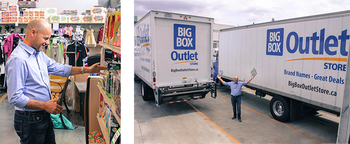 Mark Funk shopping in Big Box Outlet Store. Big Box shipping trucks ready to deliver more product to the stores.