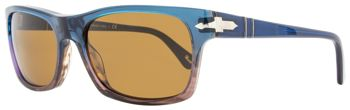 Persol Rectangular Sunglasses PO3037S 1010-33 Size: 54mm Night Blue/Brown 3037