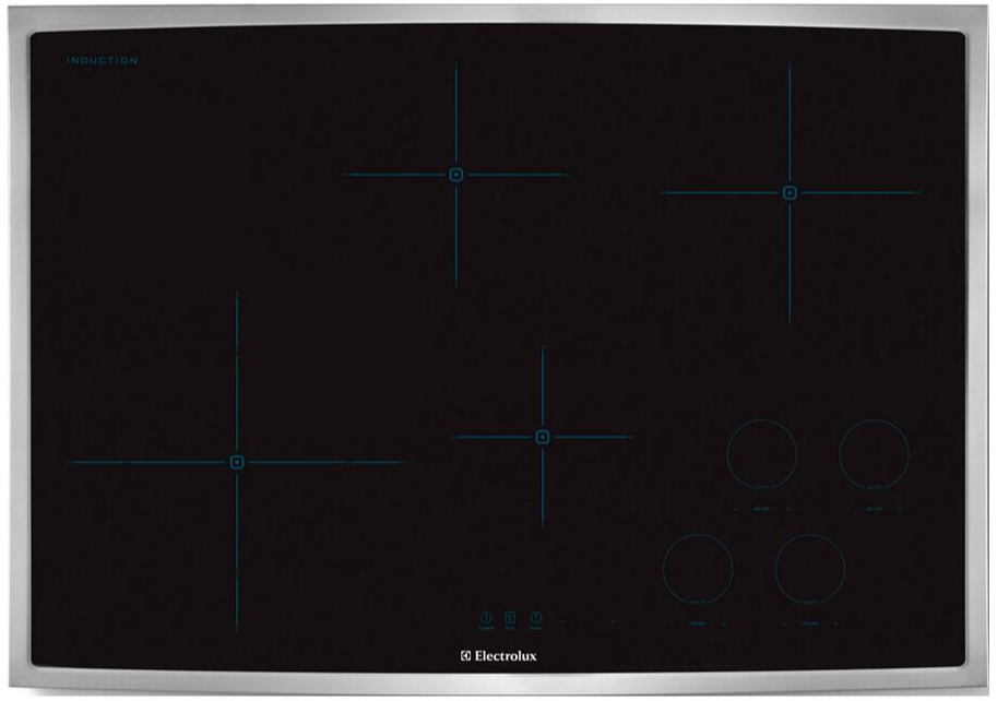 Electrolux EW30IC60LS 30 Inch Electric Induction Cooktop with 4 Burners, Hot Surface Indicator, ADA Compliant, in Black with Stainless Steel Frame