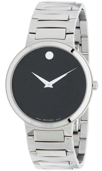 Movado Men's Swiss Temo Stainless-Steel Bracelet Black Dial Slim Watch **AS-IS; FINAL SALE**