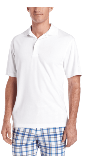 PGA TOUR Men's Airflux Short Sleeve Solid Polo-Shirt Medium White