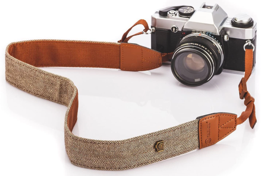 MegaGear MG1386 SLR, DSLR Leather Shoulder or Neck Strap Canvas Fabric Material, Light Brown