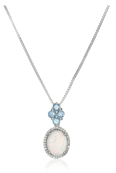 Sterling Silver Licensed Swiss Blue Topaz with Created Opal Framed Drop Diamond Pendant Necklace (1/10cttw, I-J Color, I2-I3 Clarity), 18""