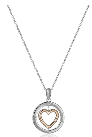 Sterling Silver with Rose Gold Plating the Inner Heart's Back Diamond Circle and Heart Pendant Necklace, 18""