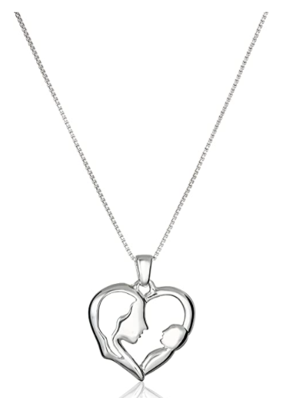 Sterling Silver Open Heart with Silhouette of A Mother and A Baby Silver Pendant Necklace, 18""
