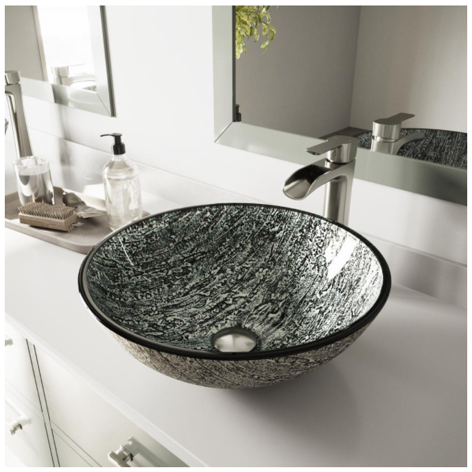 VIGO Titanium Glass Vessel Sink with Vessel Sink Brushed Nickel Bathroom Faucet