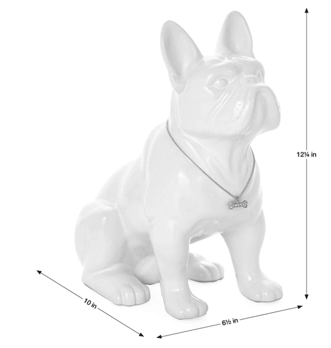 Torre & Tagus 900857 Sitting French Bulldog Sculpture, White