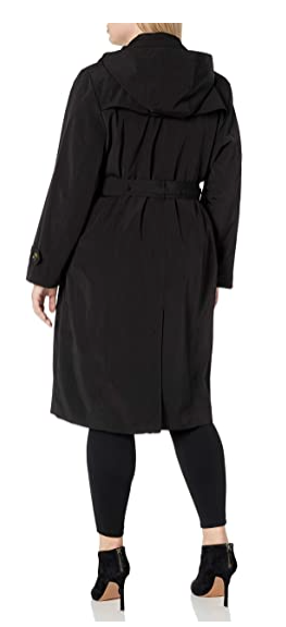 LONDON FOG Women's Single Breasted Belted Trench with Hood Black Size XL