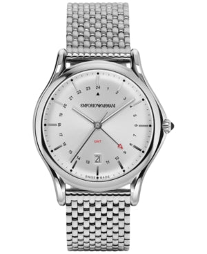 Emporio Armani Classic Silver Sunray Dial Mens Steel Watch ARS1101 *VISIBLE WEAR*