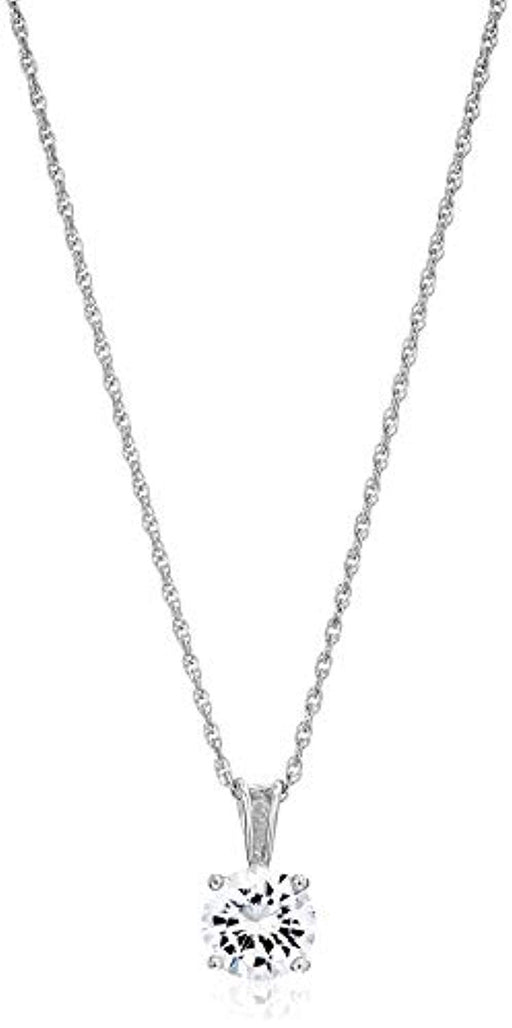 Plated Sterling Silver Cubic Zirconia Round Cut Solitaire Pendant Necklace 18