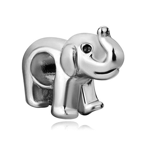 Pugster Lucky Elephant Animal Silver Plated Charm