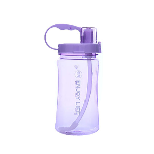 Newweic 2L Large Capacity Space Cup Portable Wide Mouth Plastic Water Bottle with Handle - Purple