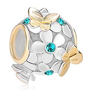 Pugster Charmed Craft Sterling Silver Butterfly Charm -Green Gems