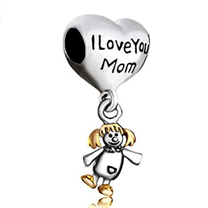 Pugster I Love You Mom Dangle Baby Girl Charm
