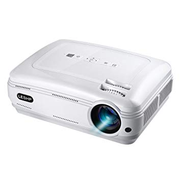 LESHP Video Projector 1080P HD Home Theater Movie Projector - White