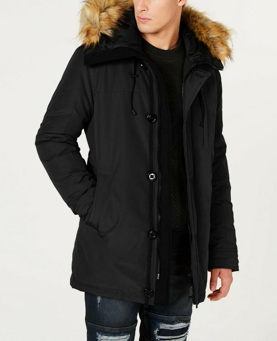 GUESS Mens Classic Fit Hooded Waterproof Parka w/ Faux Fur Black Size M