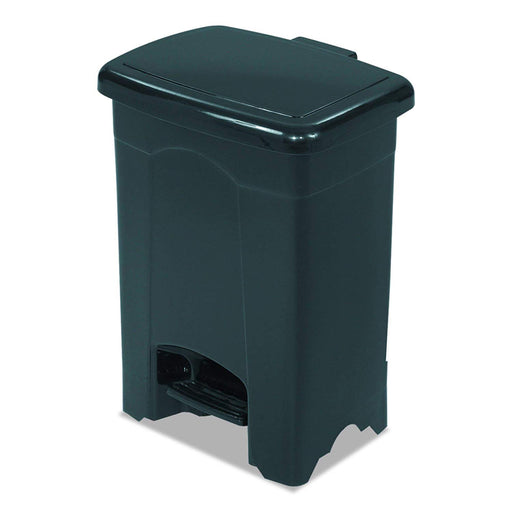Safco 9710BL Plastic Step-On Receptacle, Black, 4 Gallons
