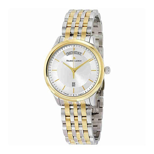 Maurice Lacroix Les Classiques Day-Date Silver Dial Mens Watch LC1227-PVY13-130 *Light Wear*