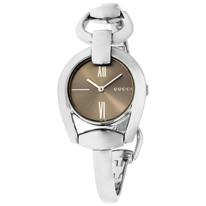 f170e82af4e840 Gucci Horsebit Collection Brown Dial Stainless Steel Ladies Watch YA13 —  Big Box Outlet Store