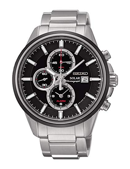 Seiko Solar Chronograph Black Dial Stainless Steel Mens Watch SSC255 *Light Wear/No Box*